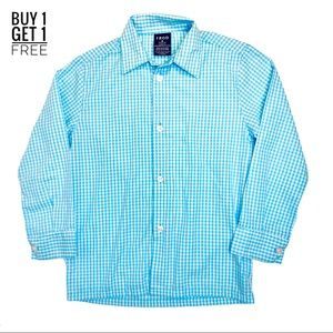 Izod Boys Aqua Gingham Plaid Button Down Size 6